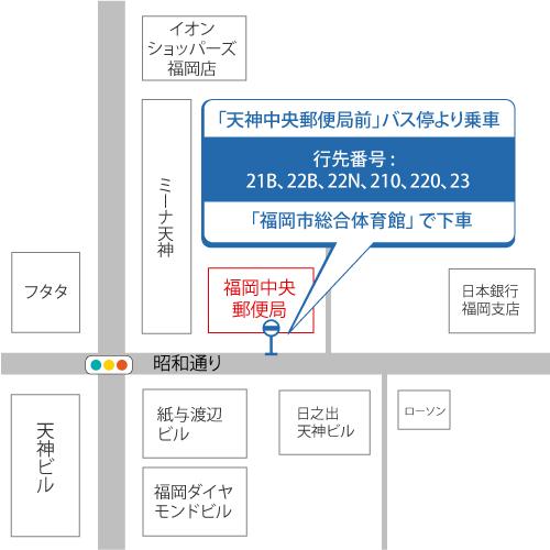 天神郵便局前バス乗り場マップ